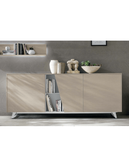 LUMEO GRIS CLAIR - Armoire 2 portes coulissantes